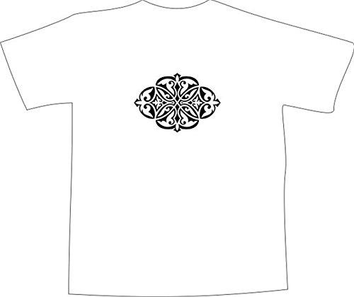 T-Shirt E1112 Schönes T-Shirt mit farbigem Brustaufdruck - Logo / Grafik / Design - abstraktes Ornament mit schönen Ranken und Blättern Mehrfarbig