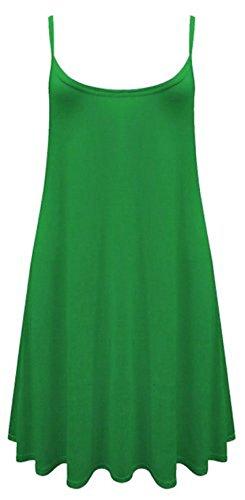 SugerDiva Frauen-Damen Cami Ausgestelltes Skater Strappy Weste Top Swing-Minikleid J.Green