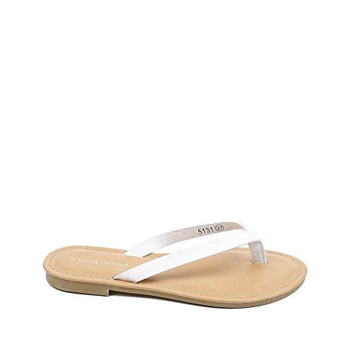 Ideal Shoes Tongs fluorescentes en Similicuir Josette Blanc