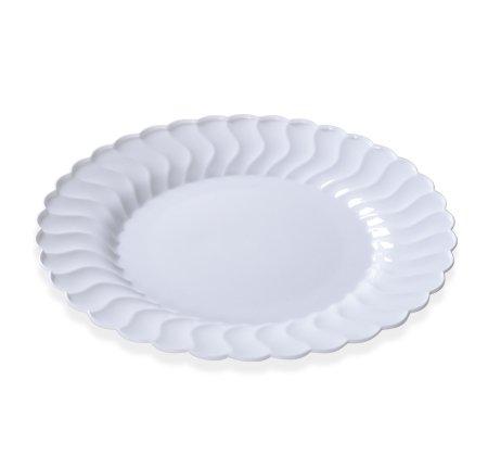 Élégant Assiettes en plastique rigide – Coque avec bords en Chine Look – Blanc – 22,9 cm (23 cm) – Lot de 18