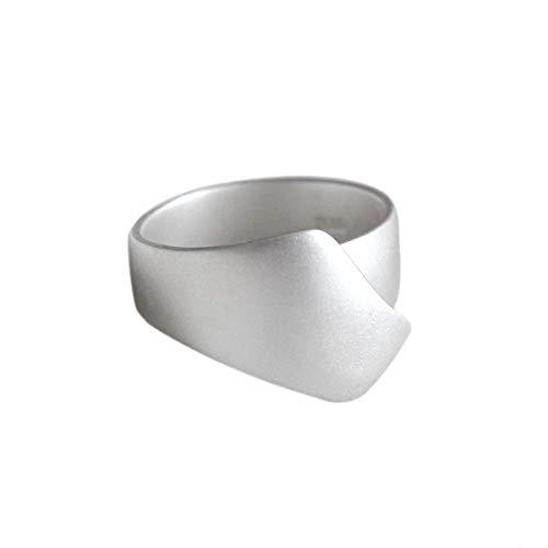Anillo de plata de ley 925 de Lotus Fun, anillo mate irregular, anillo  ajustable, creativo natural, hecho a mano, joya única para mujeres y niñas