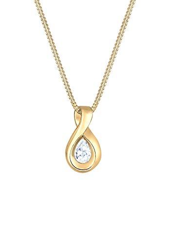 Elli Premium Damen-Kette mit Anhänger Infinity 585 Gelbgold Zirkonia weiß Ovalschliff 45 cm - 0109612716_45