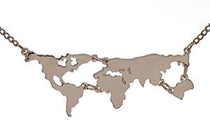 pretty_awesome Kette Kontinente Welt World Wanderlust Globus Statementkette, Farbe: Roségold, mit Schmuckbeutel