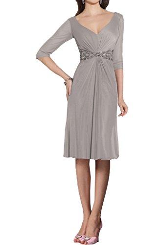 Ivydressing Damen 3/4 Aermel V-Ausschnitt Steine Guertel Lang Chiffon Promkleid Festkleid Abendkleider Grau-Kurz