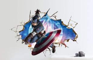 Junlinto 3D Super Hero Marvel Home Decoration Los Vengadores American Captain Wall Sticker