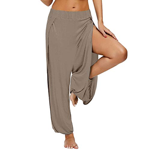 routinfly Damen Hosen Lang Weites Bein Hose,Haremshose Lange Hose Jogginghose Frauen Split-Gabel Stretch Sporthose Yogahose Freizeithosen Yoga Loose Athletic Pants S-XXL -