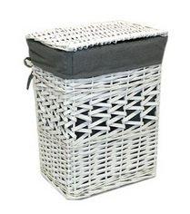 Cestos de mimbre ropa sucia. Color Blanco interior gris lavable. (43x35x57 cm.)