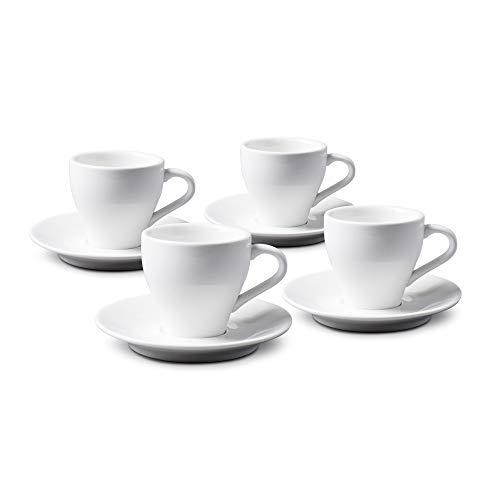 WM Bartleet & Sons 1750 TSET88 Traditionelles Set aus 4 Espressotassen und Untertassen aus Porzellan, 80 ml, Weiß