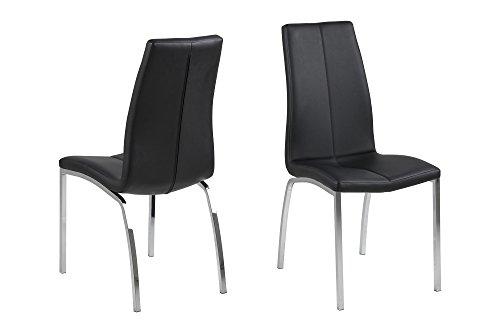 AC Design Furniture Stuhl Elisabeth, B: 43,5 x T:57 x H: 95 cm, PU, Schwarz -