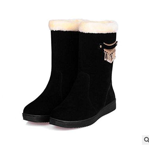 HSXZ Scarpe donna pu Autunno Inverno Comfort scarpe piatte rotonde Mid-Calf Toe stivali per Casual cammello Rosso Nero Black