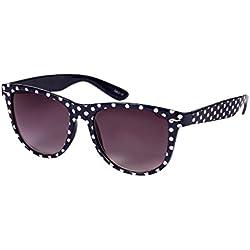"""SIX """"Trend"""" Retro Sonnenbrille, Dunkelblau mit weißen Polkadots, Rockabilly, 50s (341-631)"""