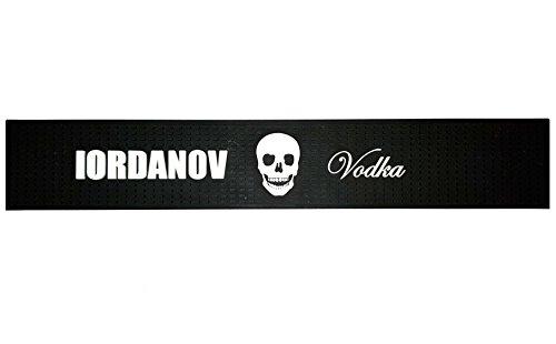 Iordanov Vodka Wodka Barmatte | Skull Totenkopf | Getränke Untersetzer | Designer Luxus Crystal schwarz Kunststoff Gummi gummiert | rutschfest (schwarz)