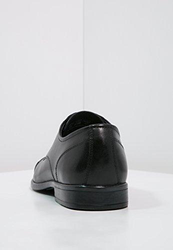 Pier One Herrenschuhe Leder in Schwarz oder Cognac Braun - Lederschuhe zum Schnüren - Business Schuhe für Herren - Halbschuhe zum Anzug & für Hochzeit Schwarz