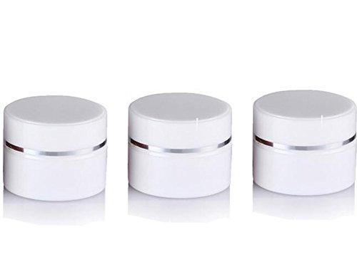 3 pcs 15 g/30G rechargeables Argent Edge Blanc Double Paroi Plastique vide Cosmétique de stockage de conteneurs Fard à paupières crème à nourriture Beaucoup Pot bocaux
