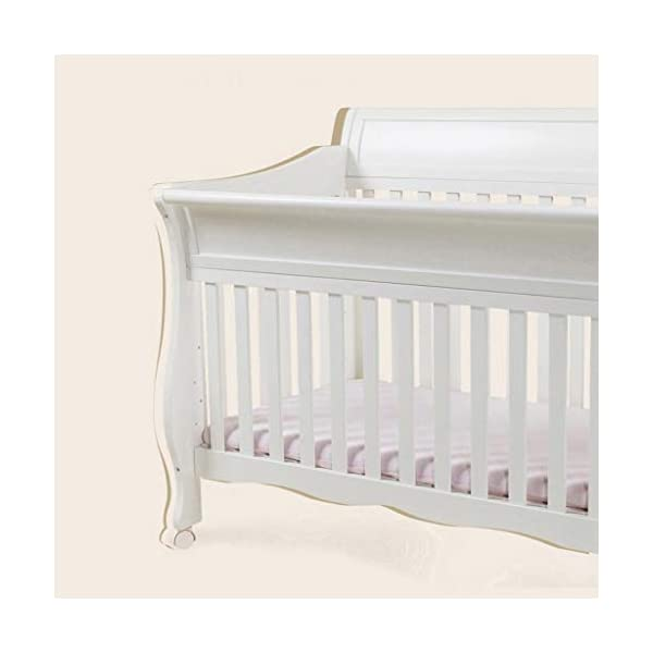 DUWEN-Cot bed Solid Wood Multifunction Baby Cot European Style Cot Bed Toddler Bed Splicing Bed With Wheel (color : White) DUWEN-Cot bed 1. This multifunctional crib is made of environmentally-friendly pine wood. It is tough and durable, not easy to crack. It has a load-bearing capacity of more than 120KG. It is green and non-toxic paint. It is healthy and environmentally friendly. It is harmless to the baby. Mother can buy with confidence. 2. The three pedestal positions of the crib are suitable for the baby's growth stage, improving visibility and ventilation in all directions, selecting the gear according to the baby's body and age, making the space bigger and more comfortable to use. 3. Multi-functional crib can be easily converted into a game bed, children's sofa, designed for healthy sleep of 0-6 years old baby (additional function can be used up to 6 years old), 55mm safety standard guardrail spacing, children's hands and feet will not be stuck 6