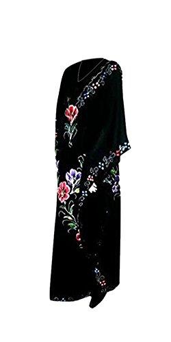 Cool Kaftans - Garten Besticktes Verziertes Atemberaubendes Handbemaltes Kaftan Kleid - Schwarz, XXL (Kaftan Garten)