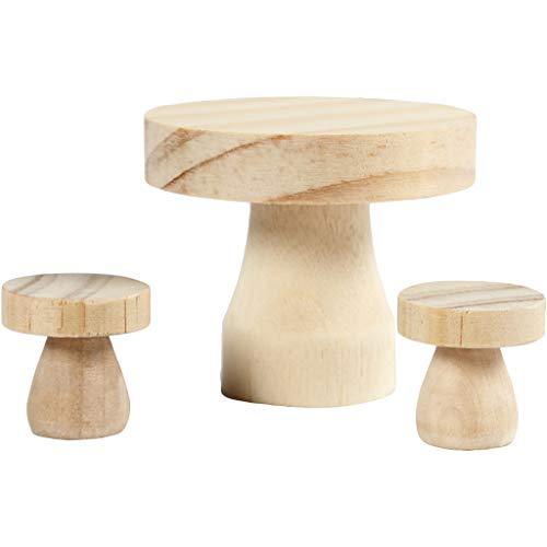 Möbelset, Größe 6x5 cm, Größe 2,5x2,5 cm, Kiefernholz, Pappel, 1Set