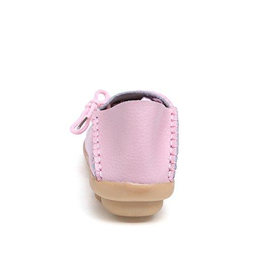 Damen Casual Mokassin Leder Loafers Fahren Schuhe Comfort Freizeit Flache Schuhe Slipper Flats chuhe Low-top Lederschuhe Erbsenschuhe Pink