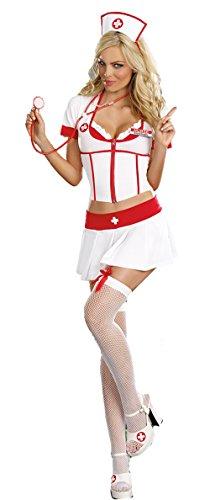 Aimerfeel womans sexy Krankenschwestern-Outfit in weiß und rot 34-40 (Niedliche Halloween Outfits Für Frauen)