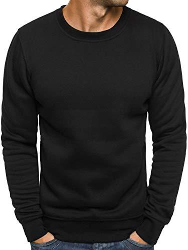 OZONEE Herren Sport Fitness Training Crewneck Täglichen Modern Sweatshirt Langarmshirt Pullover Warm Basic J. Style 2001-10 M SCHWARZ