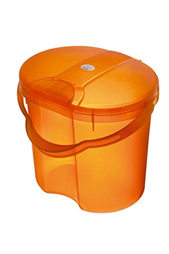 Rotho Babydesign TOP Windeleimer, Tipp-Deckel, 11l, Ab 0 Monate, TOP, Translucent Orange, 200020212