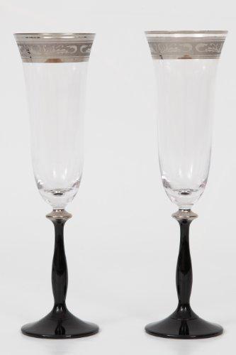 Bohemia Cristal-Angela-Flûte à Champagne - 190 ml-Lot de 6–Cristal 24% ploMB argent avec gravure et pied Noir