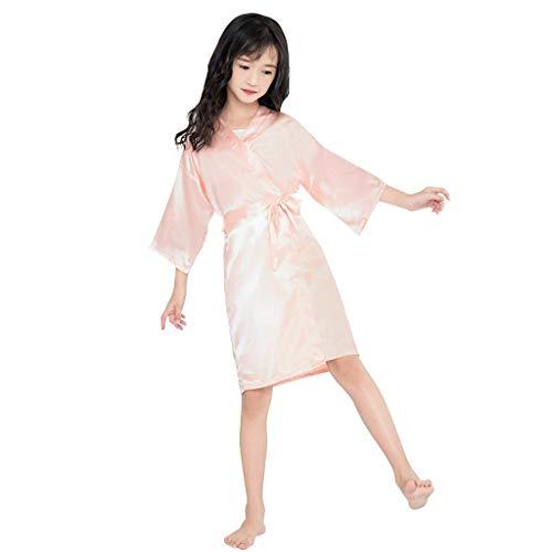 BaZhaHei Kleinkind Baby Kinder Mädchen Solid Silk Satin Kimono Roben Bademantel Nachtwäsche Kleidung (Satin-stretch-robe)
