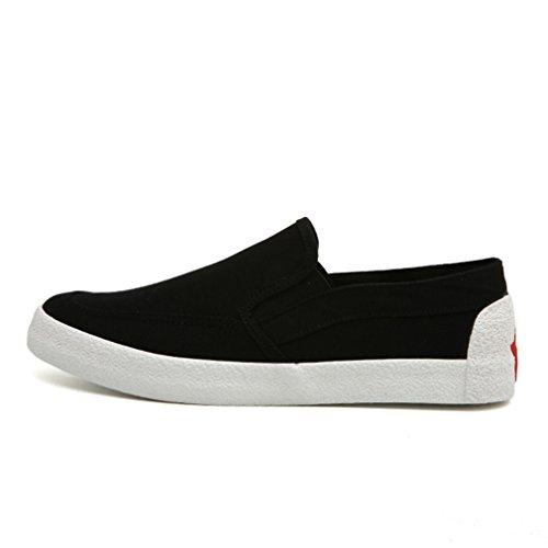 Homme mocassin loafers slip-on plat chaussure bateau en toile basket mode sandale lacet légère confortable Noir