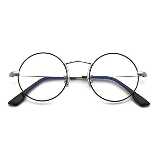 YDS SHOP Runder Flacher Retro-Unisex-Spiegel, All-Inclusive-Rahmen aus Metall, klare Linse und federbelastete Bügel zum Anbringen von Brillen (Color : A)