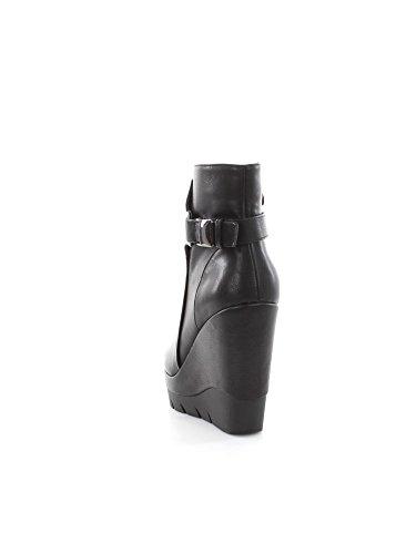 Cafe Noir Stiefeletten Damen Wedge Cm 10 PL Cm 2 Pelle Reißverschluss Schwarz Nero