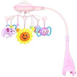 Juguete musical móvil para cuna, móvil de proyección Música Cama Campana Colgando Sonajero giratorio Cuna para bebés Juguete educativo para bebés Recién nacidos hasta 12 meses(Rosado)