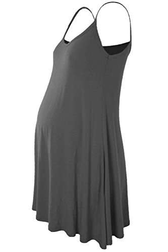 Janisramone Womens Ladies New Sleeveless Plain Floaty Flare Strappy Maternity Camisole Swing Dress Long Top
