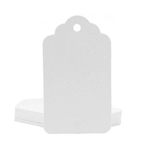 100 Stück Rustikal 40mmx70mm Weiß Geschenk Anhänger Papieranhänger Tags Labels zum Hochzeit Party Etikett Selbstgestalten Preisetiketten Preisschild Schilder Anhänger Kofferanhänger DIY Deko (100) -