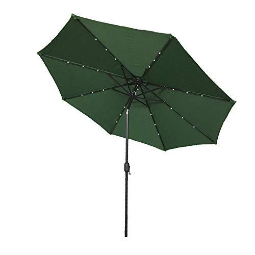 AUFUN Sonnenschirm neigbar 300cm mit kurbel und Solarbetriebene Warmweiß LED UV Schutz 40+ - Grün Alu Balkon Terrassenschirm Marktschirm Gartenschirm (Grün)