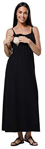 Happy Mama Damen Mutterschaft Muster Empire-Taille Riemen Langes Kleid 009p (Schwarz, EU 40/42, L) -