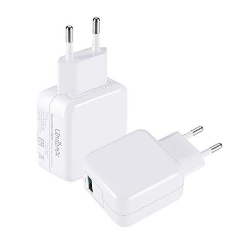 UrbanX 18W Cargador USB Quick Charge 3.0 - Cargador de Viaje Enchufe Carga Rápida para Xiaomi Pocophone F1 Mi A2 Mi 5/8/9 Pro Mix 3 A1 Samsung S10 S9 S8 S7 Edge iPhone iPad (Solo Cargador, Blanco)
