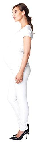 Queen Mum Umstands-Jeans Denim Bauchband Normbund Straight-Fit White (100)