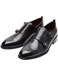 Modello Bluto - 42 EU - Cuero Italiano Hecho A Mano Hombre Piel Azul Monk Zapatos Oxfords - Cuero Cuero Pintado a Mano - Hebilla