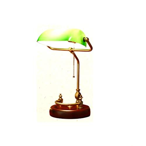 Table lamp Schreibtischlampe Retro Klassische Lampe Grünes Dickes Glas Schatten Massivholz Birke Basis Verstellbare Lampe Pole Banker Tischlampe Studie Schlafzimmer Nacht Bürobeleuchtung -