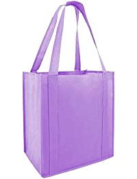 (Set Of 25) Heavy Duty Grocery Shopping Tote Bag W/Strong Reinforced Handles (LAVENDER)