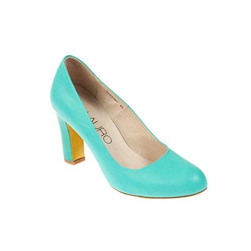 Jina Di Lauro Damen Pumps Leder Blau Mint, Schuhgröße:40