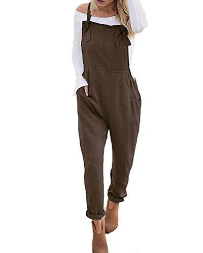 ACHIOOWA Latzhose Damen Jumpsuit mit Träger Retro Overalls Sommer Lose Hose Lange Baggy Sommerhose Kaffee M