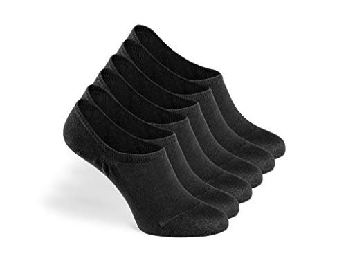 Greylags PREMIUM Invisible Sneaker Socken, rutschfest, 6 Paar - gekämmte Baumwolle bequem ohne drückende Naht in schwarz - 35-38 - Bio-baumwolle Zehe Socken