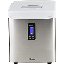 H.Koenig Machine à glaçons KB15, 15kg en 24h, 3 tailles de glaçons automatique électrique compact portable sans installation silencieuse 3,3L, Cube de glace rapide prêt en 13min, A poser sur comptoir