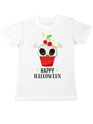 clothinx Kinder T-Shirt Halloween Cupcake Weiß Größe 140