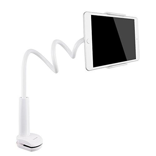 Tryone Schwanenhals iPad Halterung/Ständer für Tablet/Handy/ Switch/Samsung Galaxy Tabs/Amazon Kindle Fire HD usw, 30 Zoll Gesamtlänge (Weiß)