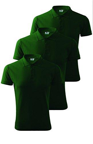 3er Pack Herren Polohemd Pique Poloshirt Flaschengrün
