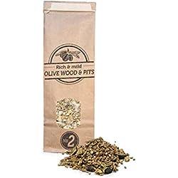 Smokey Olive Wood 500mL, Mischung aus Samen und Olivenholz in Späne Nº2. Vorbereitet für den Einsatz in Grills und Rauchern