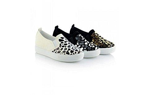 Beauqueen Platform Shoes Mocassini pompe delle donne di estate e piatti Paillettes cotone femminile del nero dell'oro dei pattini casuali speciale formato dell'Europa 30-44 White