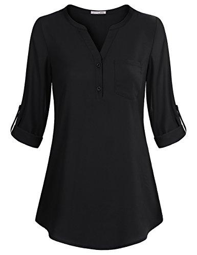 Messic Chiffon Bluse für Damen, Damen Aufrollbar Einstellbar Ärmel Freizeit Gerüscht Herbst V Ausschnitt Shirt Tops (L,Schwarz) (Langarm-bluse Schwarze)